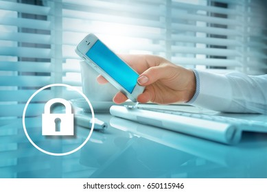 Woman hand holding a modern smartphone typing message or checking newsfeed on social media in the office.  Internet security concept. Data security.