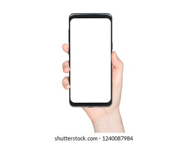 Woman hand holding modern smatphone mockup on white background