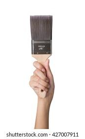 woman hand holding Paint brush, isolated on a white background.