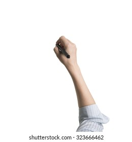 Woman hand holding pen writing high angle view, isolated on white.