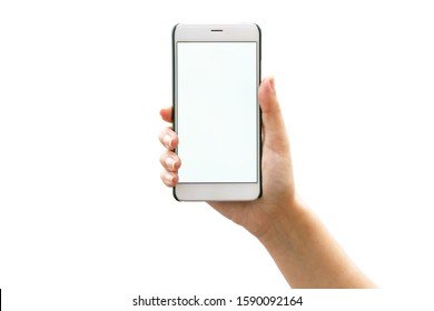 Woman hand holding phone isolated on white fon background. Mockup image mobile phone with blank screen for mobile application (app) or advertising text message.
