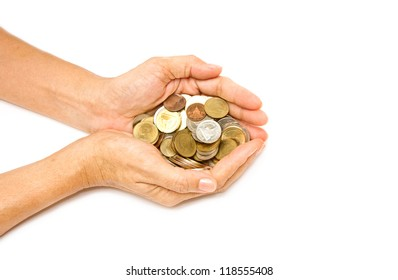 woman hand holding pile of coins on white background