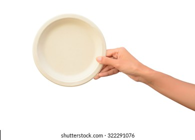 Woman hand holding Plant fiber food bowl isolated on white background