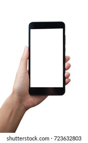 Woman hand holding smart phone isolated on white background