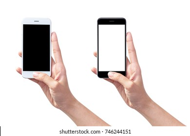 woman hand holding smart phone isolated on white,clipping path