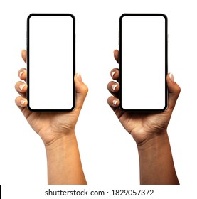 Woman hand holding the smartphone with blank screen and modern frameless design (black and white skinned version) - isolated on white background - Shutterstock ID 1829057372