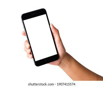 Woman hand holding a smartphone blank white screen. Female holds the modern mobile phone on hands studio shot isolated on over white background with clipping mask path on the phone and screen