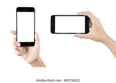 Woman hand holding smartphone isolated on white background. white screen.