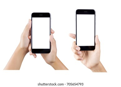 Woman hand holding smartphone isolated on white background.  white screen