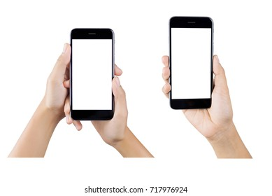 Woman hand holding smartphone isolated on white background.