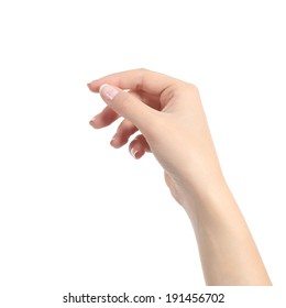 Woman hand holding some like a blank card isolated on a white background