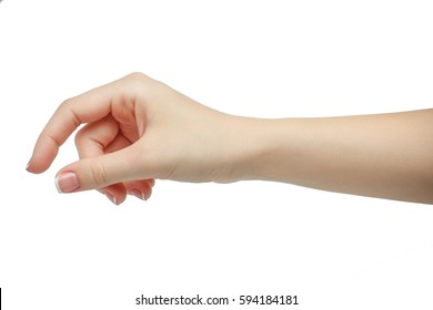 Woman hand holding some like a blank card isolated on a white background. manicured hand