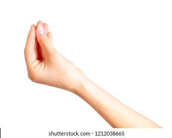 Woman hand holding something with three fingers. Side view isolated with clipping path.