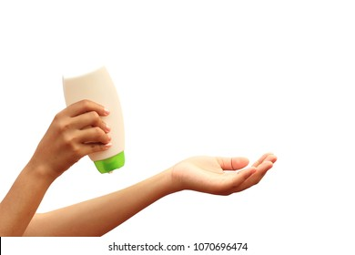 Woman hand holding sunscreen on white background, spf sunblock protection and skin care concept