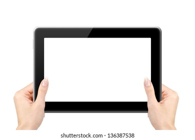 Woman hand holding tablet computer on white background.