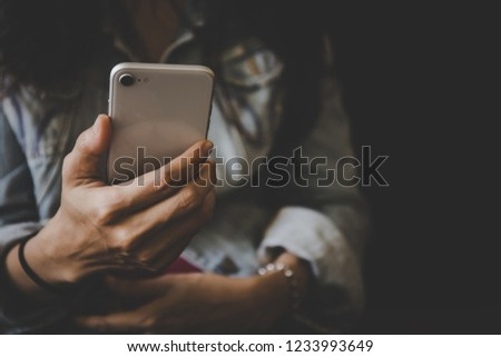 Woman Hand Holding Typing Texting White Stock Photo (Edit