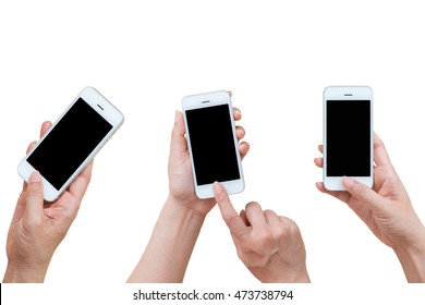 Woman hand holding and using mobile,cell phone,smart phone with isolated screen on white background.