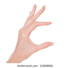 woman hand holding a virtual card, white background