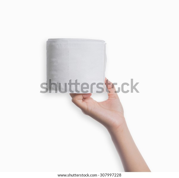 Woman hand holding a washcloth isolated on a white background