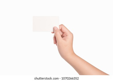 Woman hand holding white blank credit card isolate on white...