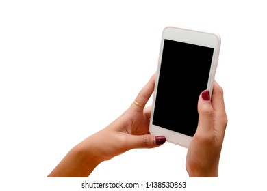 Woman hand holding white mobile phone with black screen on white background