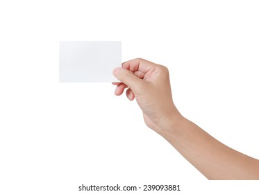 Woman hand holding a white notepaper isolated on white background