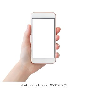 woman hand holding white phone with isolated screen