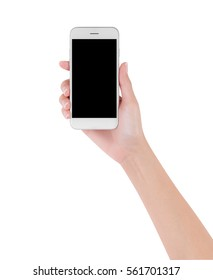 woman hand holding white smart phone with blank space of screen display, smart phone and mockup concept, Isolated on white background,