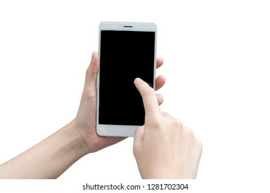 woman hand holding the white smartphone with black blank screen  - isolated on white background and clipping path- Image
