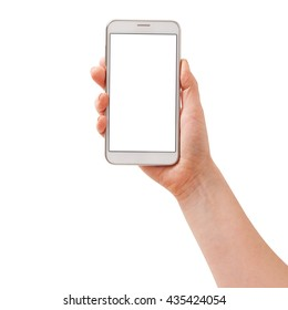 Woman hand holding the white smartphone isolated.