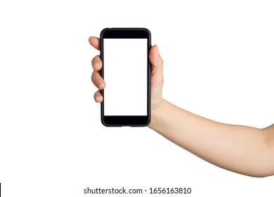Woman Hand holds smartphone with white screen. Isolated