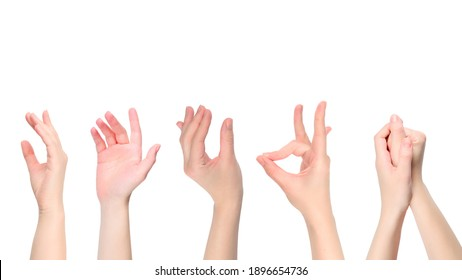 Woman hand isolated on white. Heart symbol.
