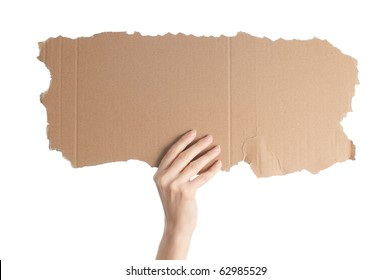 woman hand isolated on white background holding empty piece of cardboard with copy space for your text