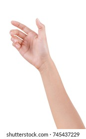 Woman hand isolated on white background with clipping path, hold or catch