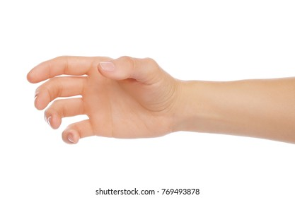 Woman hand like holding bottle or something else on white background