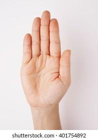 Woman hand make stop hand sign symbol