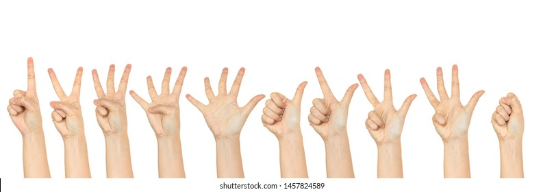 Woman hand making sign count number one to zero.Isolated on white background.