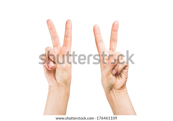 Woman hand making sign.  on white background
