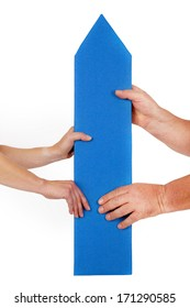 Woman hand and man's hand holding directional arrow