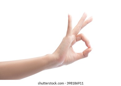 Woman Hand OK sign, Isolated on white with clipping path included