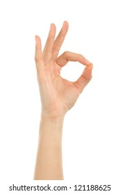 Woman hand in ok sign on a white isolated background
