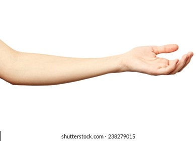 Woman hand on Isolated white background. Alpha. Outstretched hand. Hand requests alms