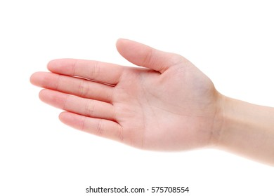 woman hand palm closeup isolated on white background