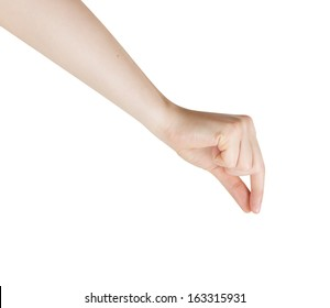 Woman Hand Pick Up isolated on White Background