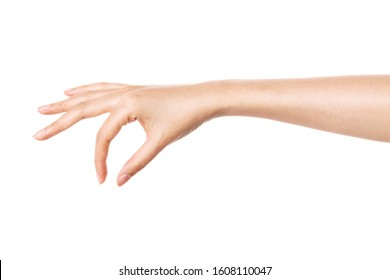 woman hand pick up something gesture isolated on white.
