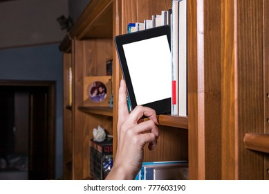 Woman hand picking ebook from bookshelf, different framing