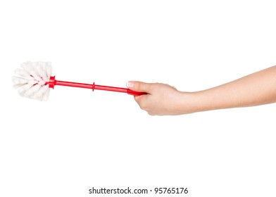 Woman hand with plastic red toilet brush isolated on white background