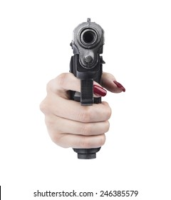 woman hand pointing gun