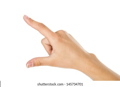 woman hand pointing up with index finger