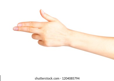 Woman hand pointing to the left with two fingers, swear or multitouch gesture. Isolated with clipping path.